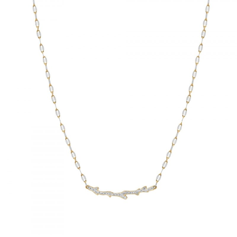 Coral Pendant Necklace With Diamonds in 14K Gold