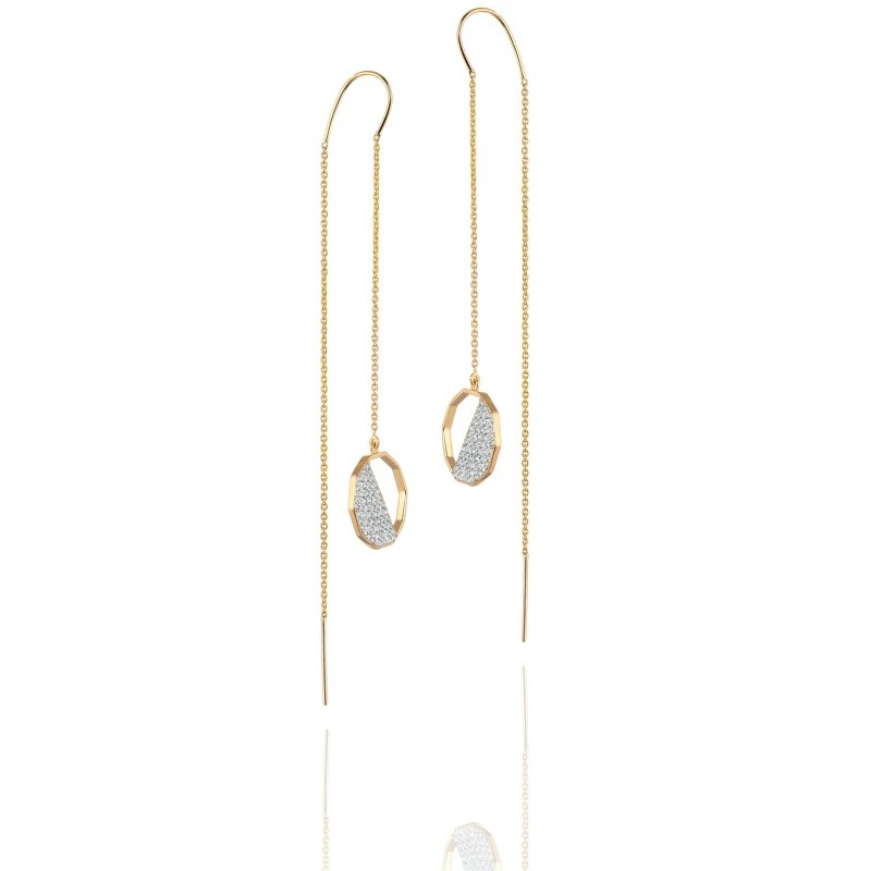 Hex Half Diamond Crusted Threader Earrings In 14K Gold