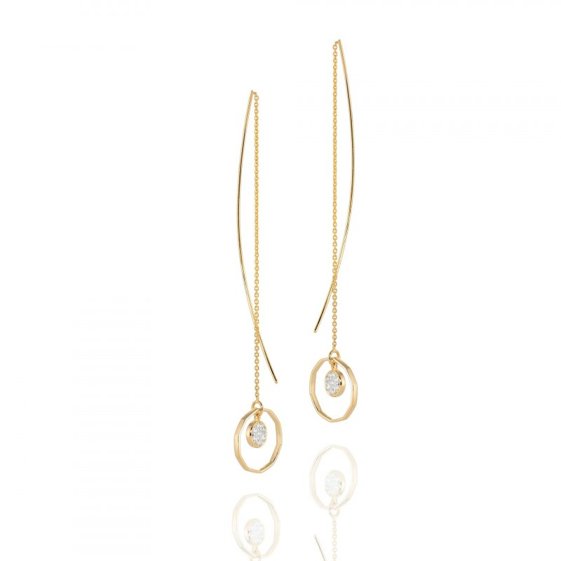 Hex Diamond Drop Threader Earrings In 14K Gold