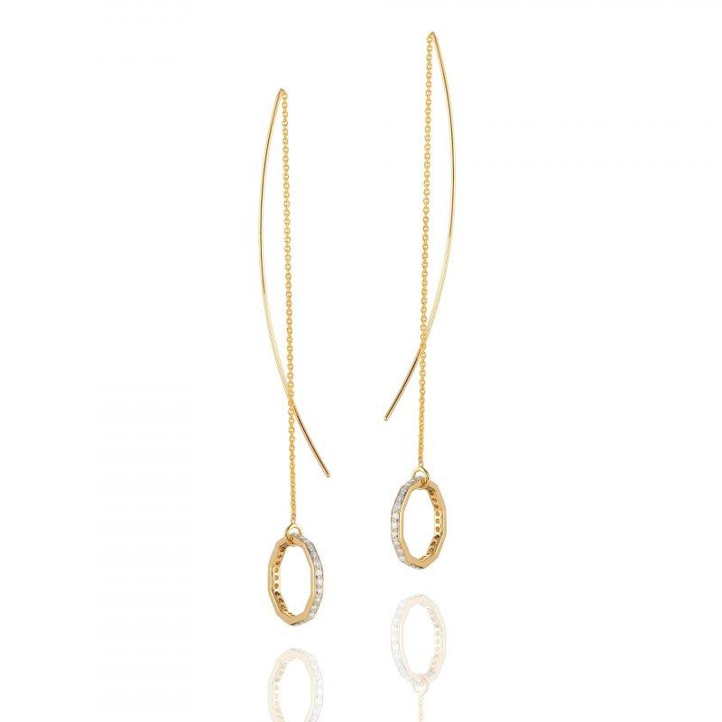 Hex Diamond Rim Threader Earrings