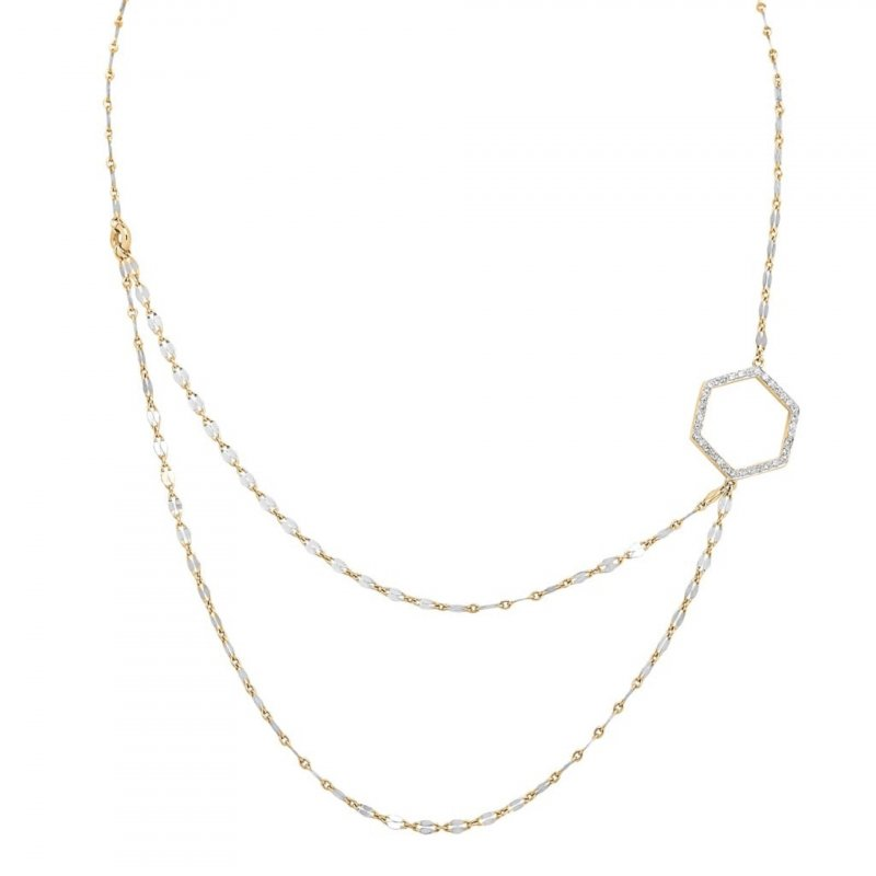 Hex Double Chain Necklace With Diamonds in 14K Gold