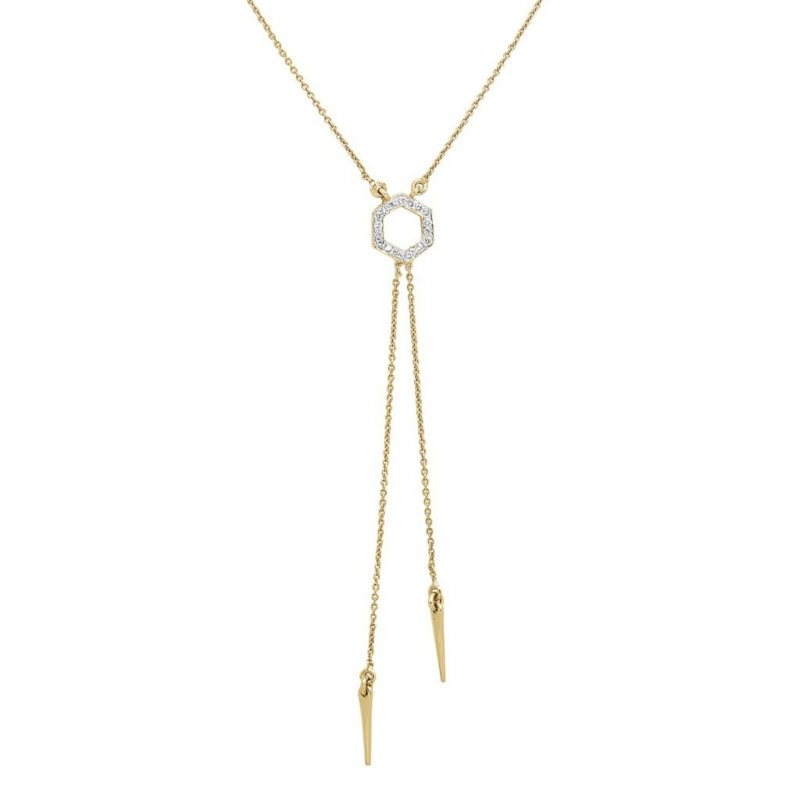 Hex Pendant Necklace With Diamonds & Drop Chains In 14K Gold