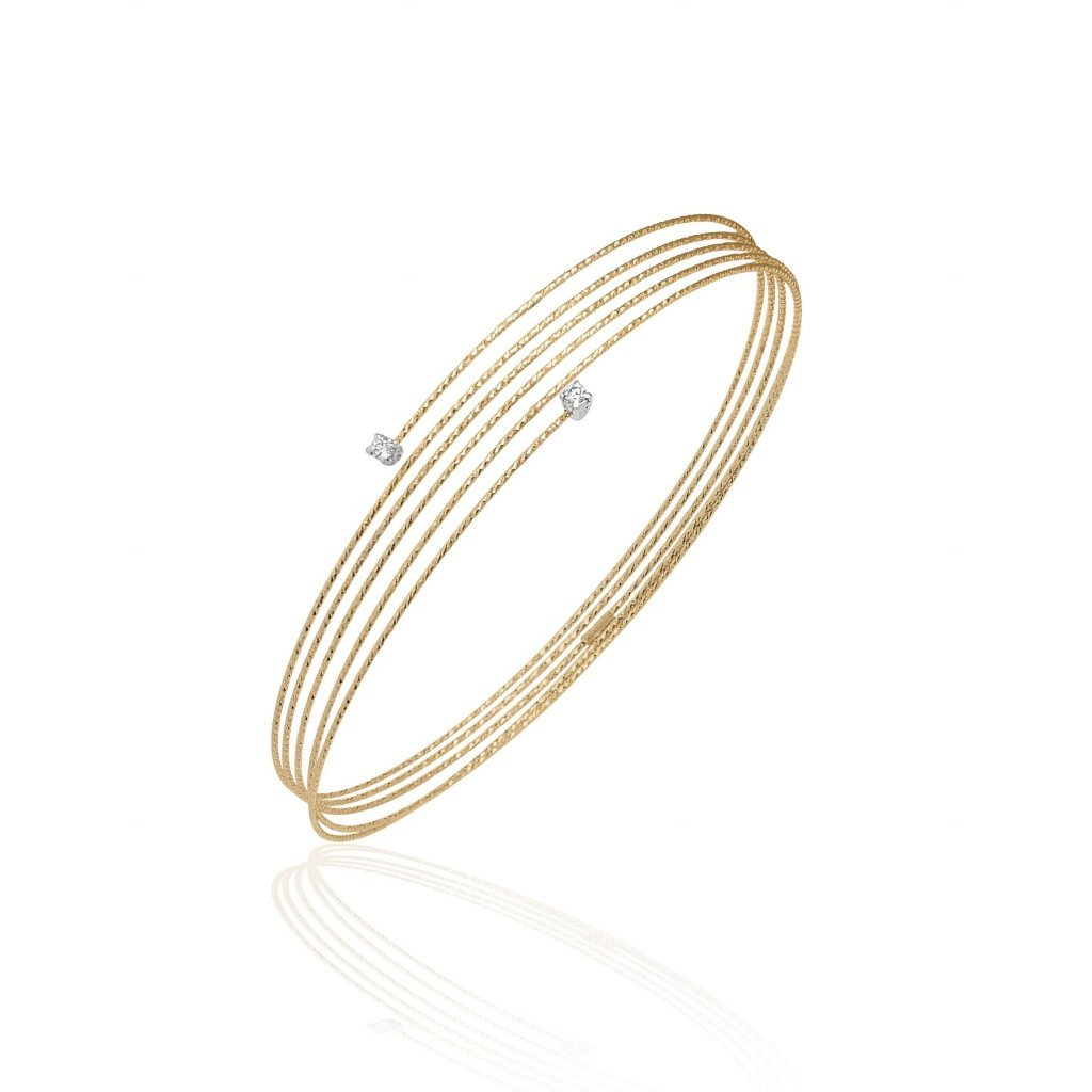Spiral Wire Bracelet With Diamonds In 18K Gold