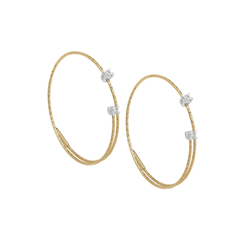 Small Spiral Wire Earring With Diamonds In 18K Gold
