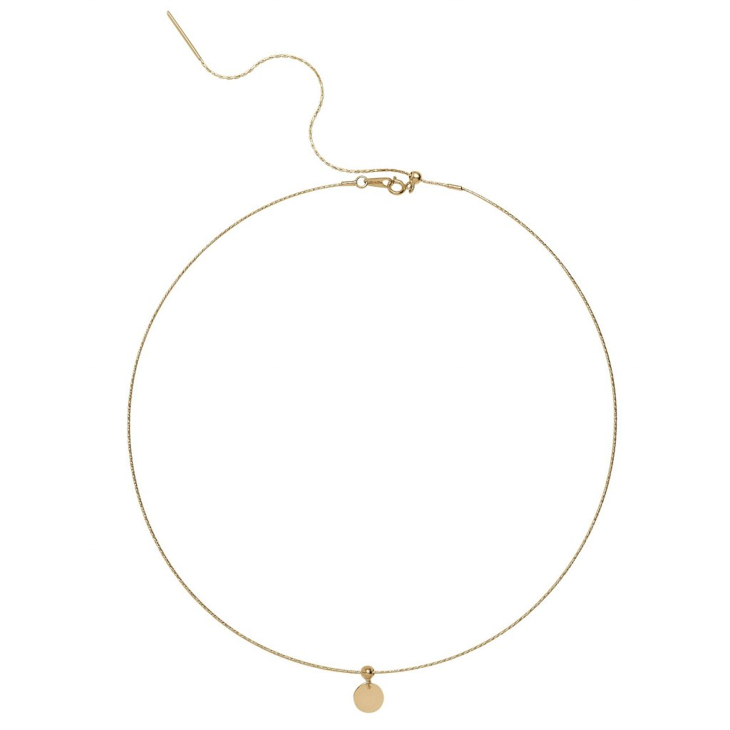 Wire Disk Pendant Necklace in 18K Gold.