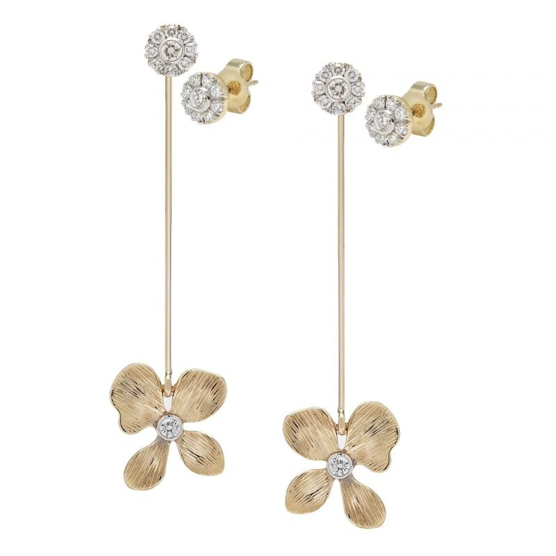 Orchid detachable Earrings with Diamonds in 14K Gold.