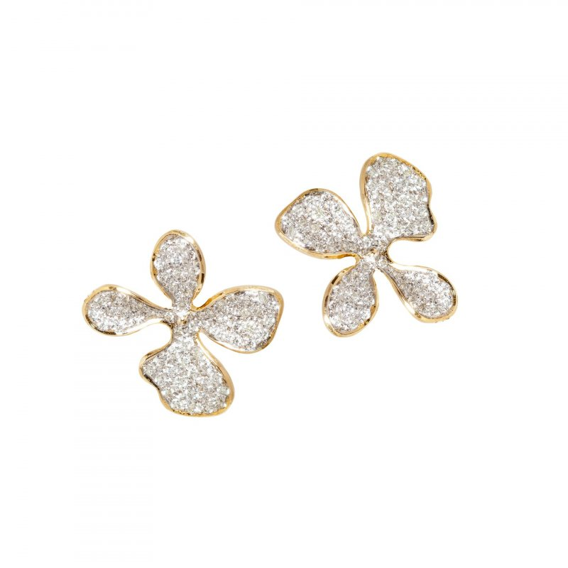 Orchid Stud Earrings Fully Encrusted with Diamonds in 14K Gold.