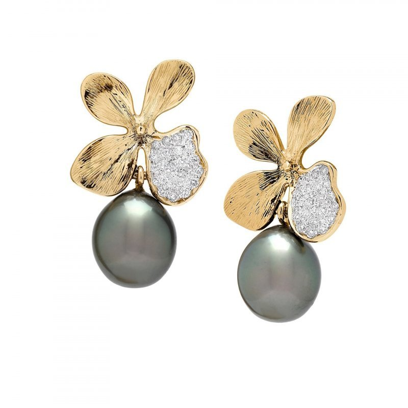 Orchid Drop Earrings in 14K Gold with Diamonds and Grey Pearls