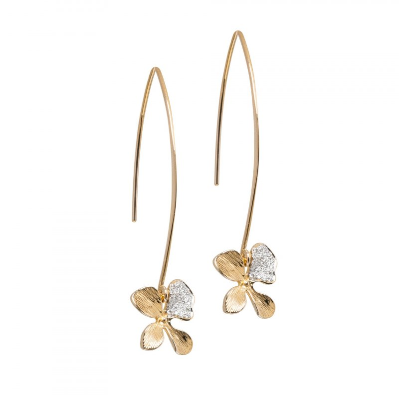 Orchid Modern Hoops in 14K Gold with Diamonds