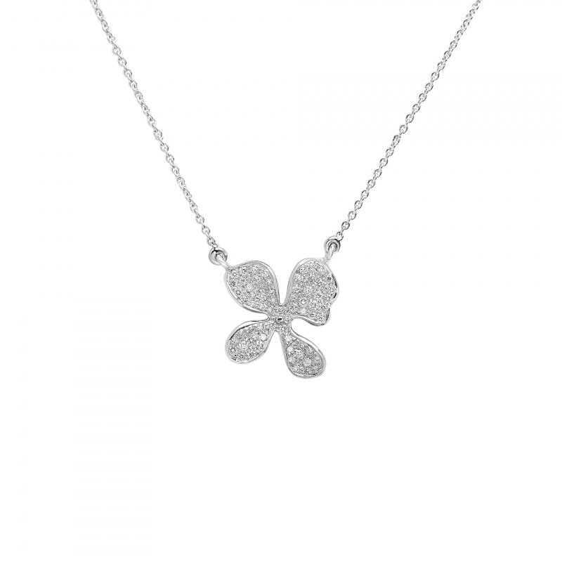 Orchid Pendant Necklace Fully Encrusted with Diamonds in 18K White Gold.