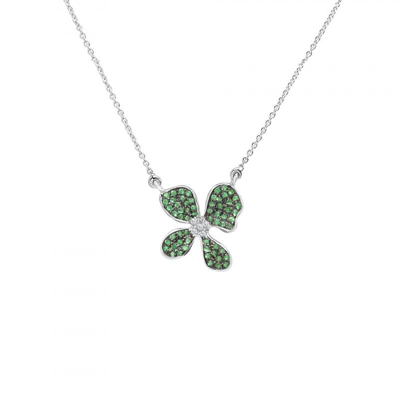 Orchid Pendant Necklace Fully Encrusted with Tsavorite and Diamonds in 18K White Gold.
