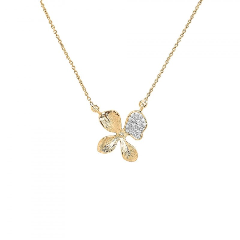 Orchid Pendant Necklace in 14K Gold with Diamonds