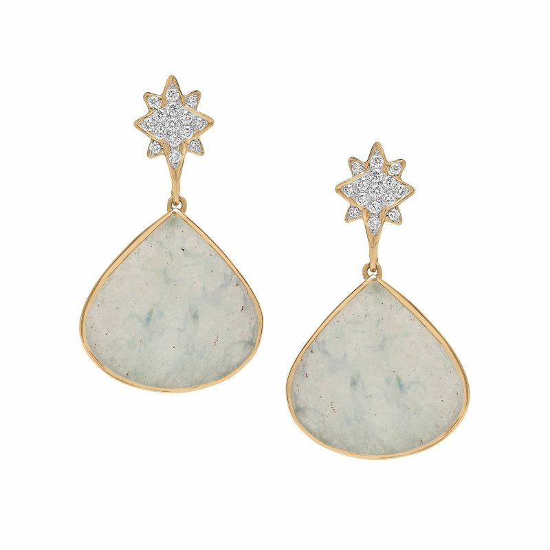 Shooting Star Earrings With Mint Rough Cut Sapphires & Diamonds Set In 14K Gold