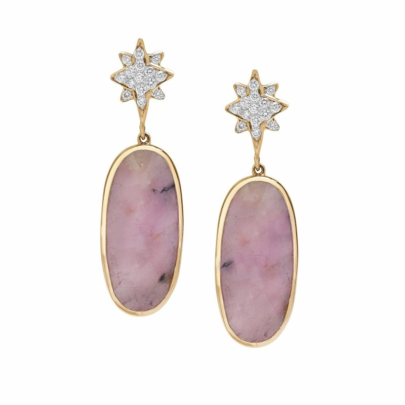 Shooting Star Earrings With Pink Rough Cut Sapphires & Diamonds Set In 14K Gold