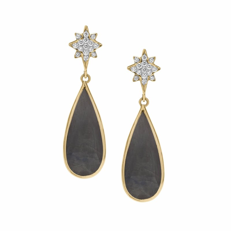 Shooting Star Earrings With Grey Rough Cut Sapphires & Diamonds Set In 14K Gold