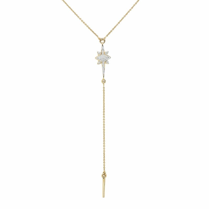 Shooting Star Pendant Necklace With Diamonds & Drop Chain In 14K Gold