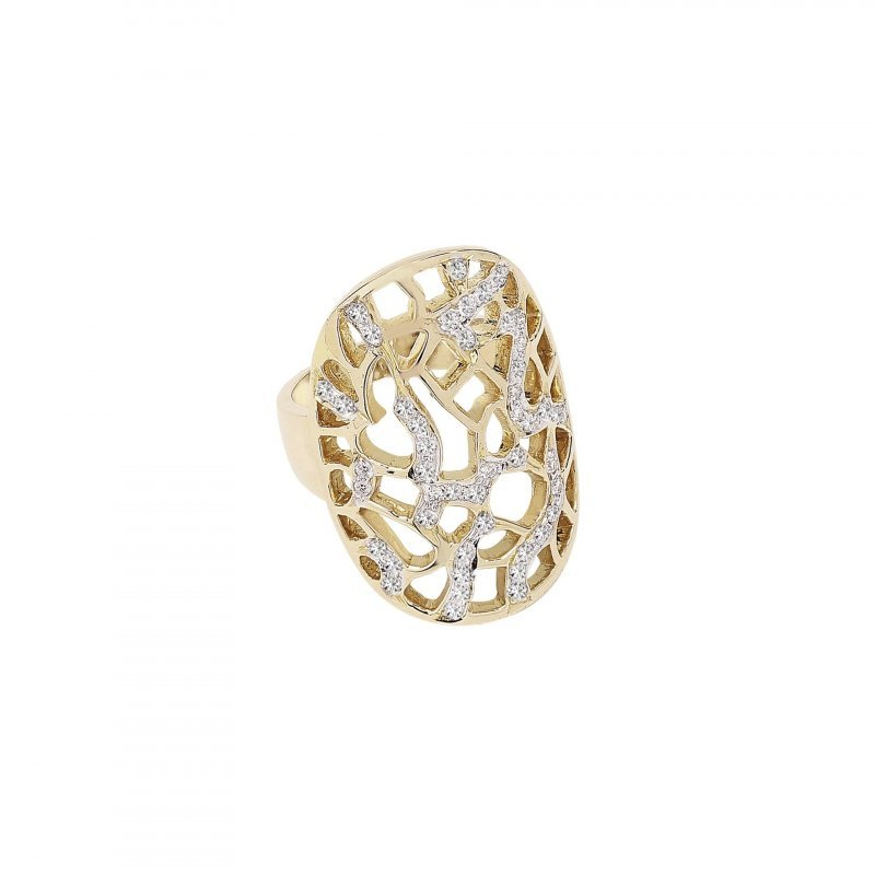 Coral Ring With Diamonds In 14K Gold