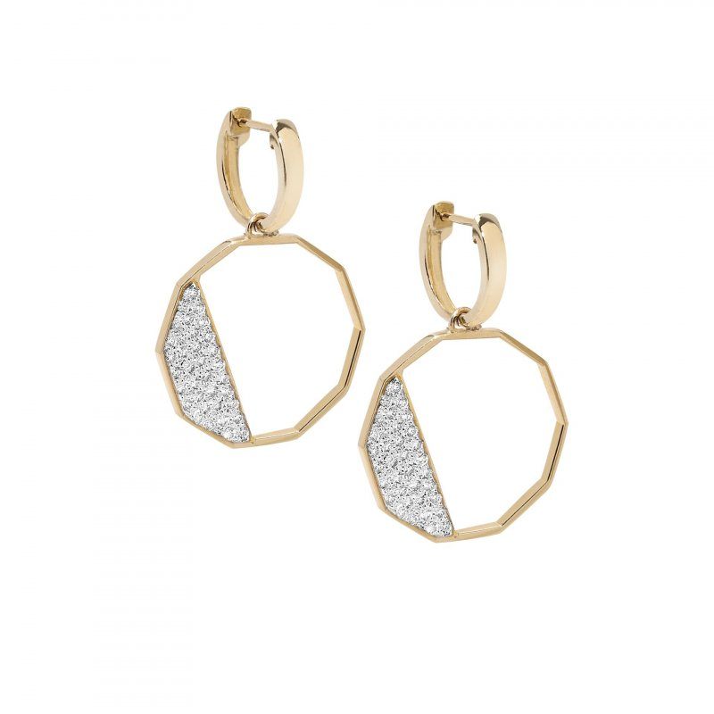 Hex Front Facing Earrings With Diamonds In 14K Gold