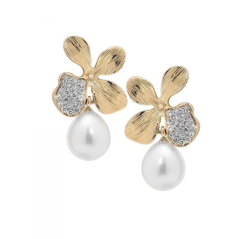 Orchid Drop Earrings in 14K Gold with Diamonds and South Sea Pearls.