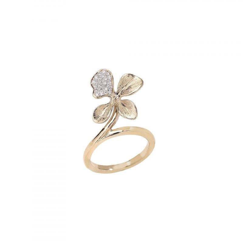 Orchid Ring with Diamonds in 14K Gold.