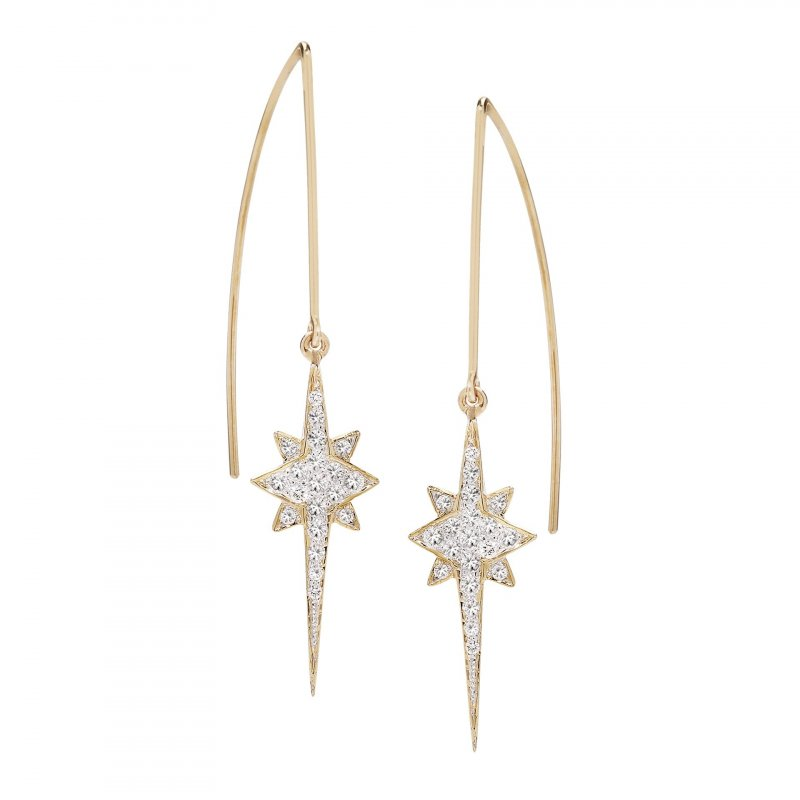 Shooting Star Modern Hoops With Diamonds In 14K Gold