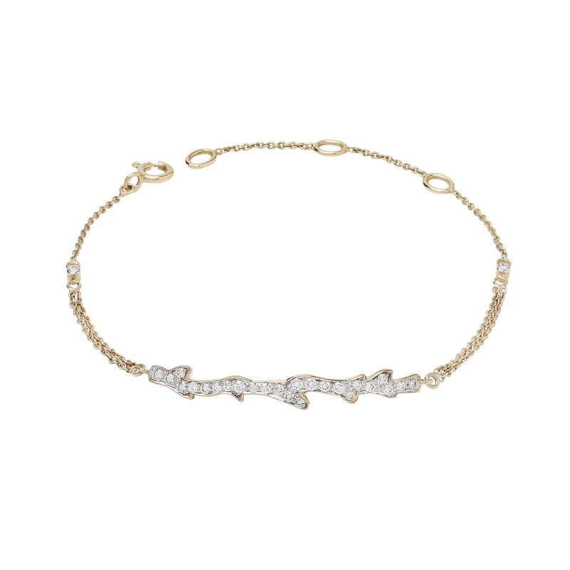 Coral Chain Bracelet With Diamonds In 14K Gold