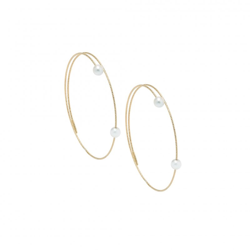 Nouveau Wire Hoops With White Pearls