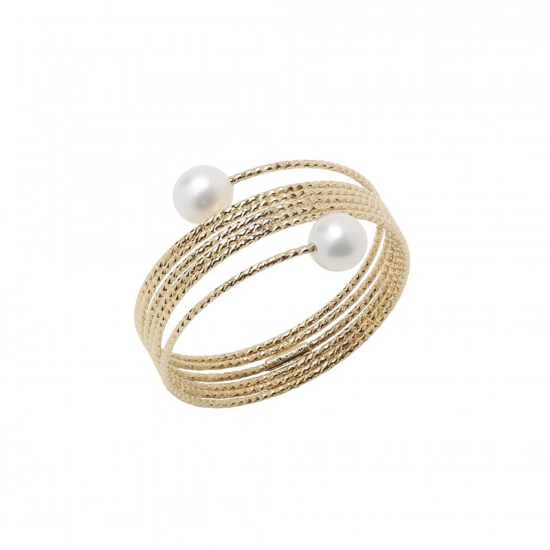 Nouveau Stacked Wire Ring With White Pearl